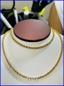 22K Yellow Real Saudi Gold 916 Mens Rope Necklace With 24 Long 3.5mm Wide 9.7g