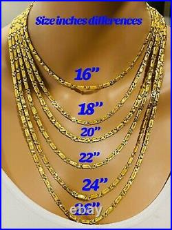 22K Yellow Real Saudi Gold 916 Mens Womens Baht Necklace With 22 Long 4mm 11.4g