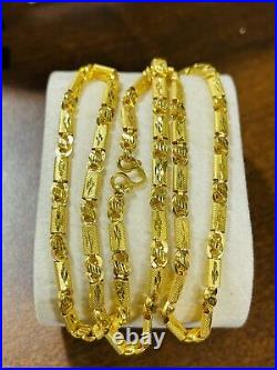 22K Yellow Real Saudi Gold 916 Mens Womens Baht Necklace With 22 Long 4mm 11.5g