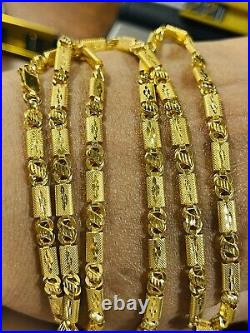 22K Yellow Real Saudi Gold 916 Mens Womens Baht Necklace With 22 Long 4mm 12.7g