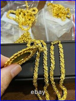 22K Yellow Real Saudi Gold 916 Mens Womens Flower Necklace 22 6mm 20.85g