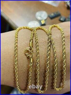 22K Yellow Real Saudi Gold 916 Unisex Rope Chain Necklace 22 Long 6.65g 3mm