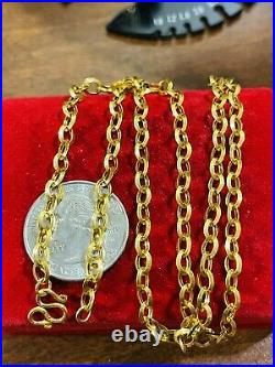 22K Yellow Real Saudi Gold 916 Womens Rolo Chain Necklace 20 Long 6.8g 4mm