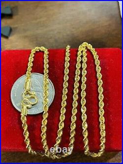 22K Yellow Real Saudi Gold 916 Womens Rope Chain Necklace 20 Long 5.9g 3mm