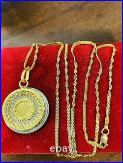 22K Yellow Real Saudi Gold 916 Womens Round Necklace 22 Long 6.9g 2mm