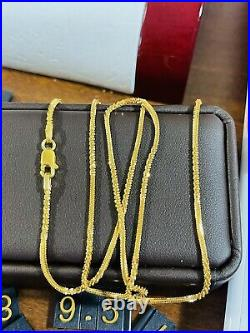 22K Yellow Real Saudi Gold 916 Womens Snake Chain Necklace 20 Long 6.5g 2mm