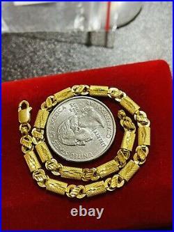 22K Yellow Saudi Gold 916 7.5 Long Womens Baht Bracelet 4mm 4.4g Beautiful