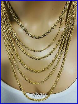22K Yellow Saudi Gold 916 Mens Rope Chain Necklace With 24 Long 3.2mm 10.46g