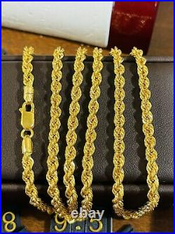 22K Yellow Saudi Gold 916 Mens Rope Chain Necklace With 26 Long 4mm 14.56 grams
