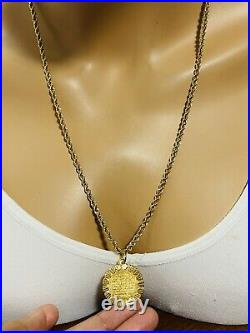 22K Yellow Saudi Gold 916 Mens Womens Round Necklace With 24 Long 3.2mm 12.11g