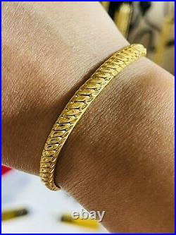 22K Yellow Saudi Gold 916 Womens 7 long Bracelet With 6mm 9.4g Beautiful