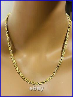22K Yellow Saudi Gold 916 Womens Baht Chain Necklace With 20 Long 4mm 10.7g