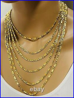 22K Yellow Saudi Gold 916 Womens Baht Chain Necklace With 20 Long 4mm 10.9gram