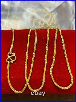 22K Yellow Saudi Gold 916 Womens Chain Necklace With 18 Long 5.74g Wide 1.6mm