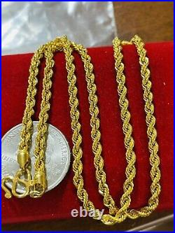22K Yellow Saudi Gold 916 Womens Rope Necklace With 18 Long 6.2g Wide 3.2mm