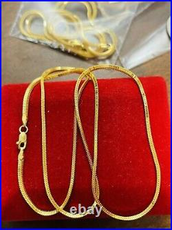 22K Yellow Saudi Gold 916 Womens Snake Chain Necklace With 20 Long 2.5mm 6.52g