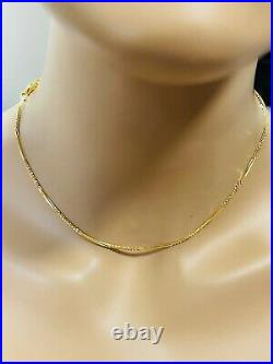 22K Yellow Saudi Gold 916 Womens Snake Necklace With 16 Long 2mm 5.3 grams