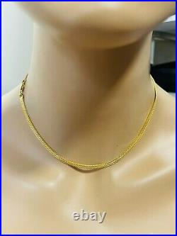 22K Yellow Saudi Gold 916 Womens Snake Necklace With 16 Long 3.2mm 8.53g