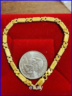 22K Yellow Saudi Gold Fine 916 Mens Baht Bracelet Large 8.5 long 4mm 5.25 grams