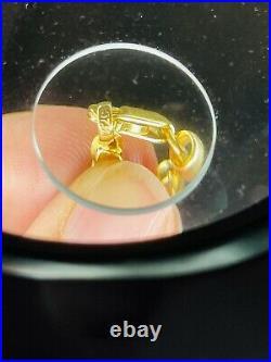 22K Yellow Saudi Gold Fine 916 Mens Womens Baht Bracelet Large 8long 4mm 4.92g