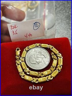 22K Yellow Saudi Gold Fine 916 Womens Baht Bracelet MED 7.5 long 4mm 4.4 Grams