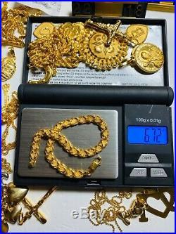 22K Yellow Saudi Gold Fine Damascus Womens Bracelet 7.25 Long 5mm Fits Medium