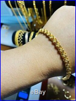 22K Yellow Saudi Gold Fine Damascus Womens Bracelet 7.5 Long 5mm Fits Medium