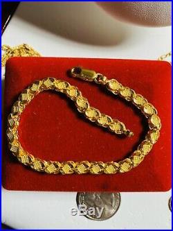 22K Yellow Saudi Gold Womens Damascus Bracelet 7.5 Long 5mm Fits Sm/med