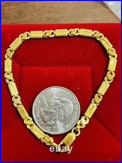 22K Yellow Saudi UAE Gold 916 8 Long Mens Womens Baht Bracelet 4mm 5.25 grams