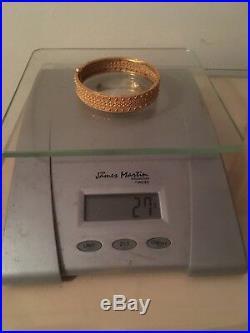 22ct Solid Yellow Gold H-marked Bangle Bracelet. 27 Gram. Size2.6. Dubai-D/Free