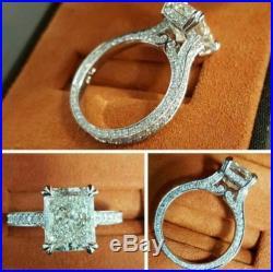 4.81cts white radiant cut diamond engagement wedding 14k gold fancy vintage ring