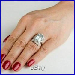 6.20ct era 1905's rare diamond vintage engagement aquamarine ring 14k white gold
