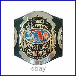 80's Florida Heavyweight Wrestling Championship Belt Brass Metal