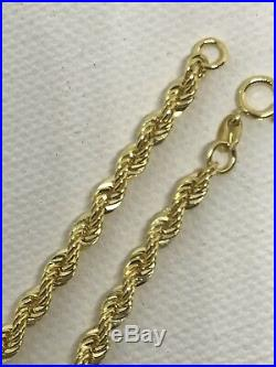 9CT 375 Yellow Gold 4MM Rope LINK CHAIN BRACELET 7.5 BRAND NEW GIFT