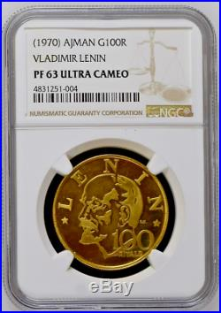 Ajman 1970 Gold 100 Riyals UAE Birth Ann. Vladimir Lenin NGC PF63 Mintage-1,000