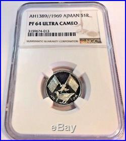 Ajman AH1389 1969 Silver Coin 1 Riyal United Arab Emirate Chicken NGC PF64 RARE