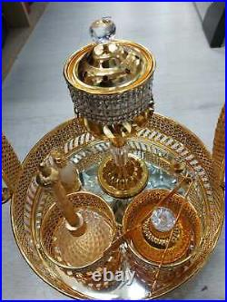 Arabian Incense burner Bakhoor Crystal Glass & Metal Gold Traditional Mabkhara