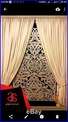 Arabic geometric Crush Velvet Greek Key Crystal Stones Blind And Curtains Set