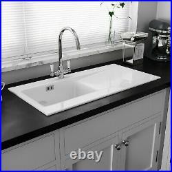 Astini Desire 100 1.0 Bowl Gloss White Ceramic Kitchen Sink & Chrome Waste