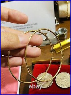 Beautiful 18K 750 Fine Saudi Gold Womens Hoop Earring 3XL 2.6 Long 4.0g 2.5mm