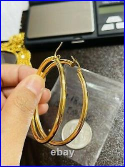 Beautiful 18K 750 Fine Saudi Gold Womens Hoop Earring 4.2g Large Size 3mm Wide