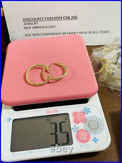 Beautiful 18K 750 Fine Saudi Gold Womens Hoop Set Earring 3.5g Large 1.3 3.2mm