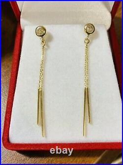 Beautiful 18K 750 Fine Yellow Gold 18 Womens Dangle Set Earring 2.4g 2 Long