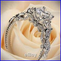 Beautiful 3Stone White 2.56Ct Round Lab-Created Diamond Engagement 14k Gold Ring