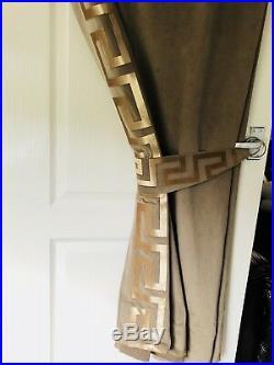Brown And Gold Velvet Greek Key Greek Border Curtains