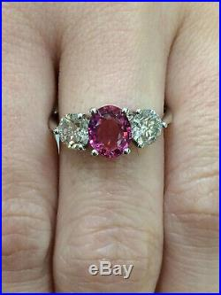 CERTIFIED 100% Natural 1.33 Ct Padparadscha Sapphire Ring 18K Gold and Diamonds