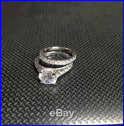 Certified 3.0 Ct White Diamond Engagement Wedding Solid 14k White Gold Ring Set