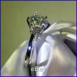 Certified 3.5Ct Round D/VVS1 Diamond Solitaire Engagement Ring 14K White Gold