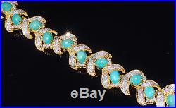 Certified Natural 29Cts VS Diamond Turquoise 18K 750 Solid Gold Bangle Bracelet