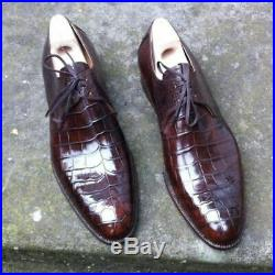 Classic Handmade Men, s Brown Leather Shoes, Formal Crocodile Texture Leather Men